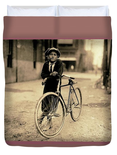 Messenger Boy For Mackay Telegraph Co. Lewis Hine Photo Waco Texas 1913 Color Frame Added 2016 Duvet Cover
