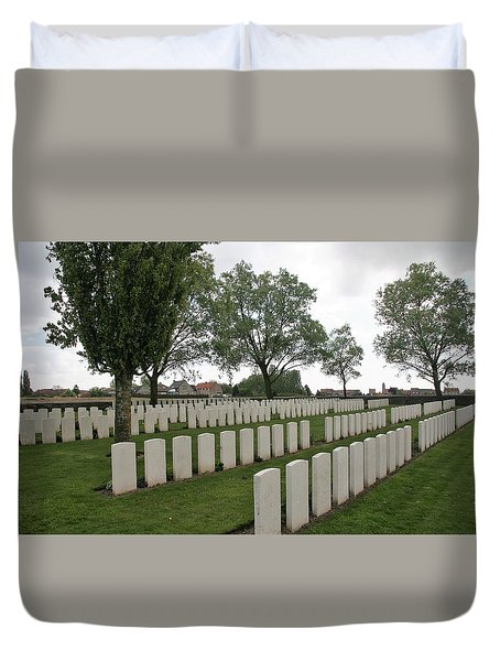 Duvet Cover featuring the photograph Messines Ridge British Cemetery by Travel Pics