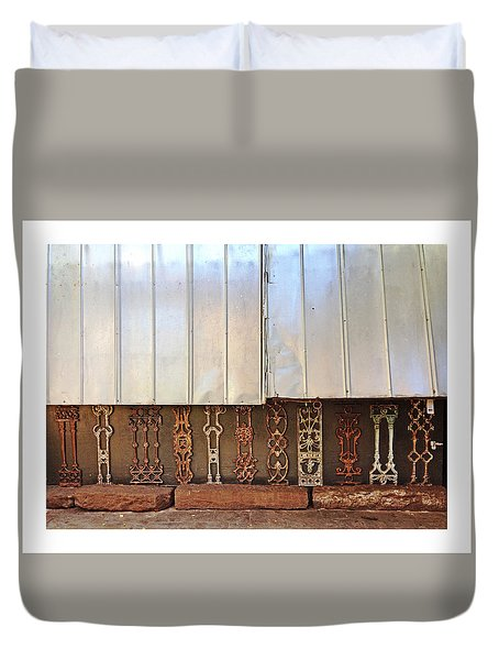 Metal And Ironwork With White Border Duvet Cover