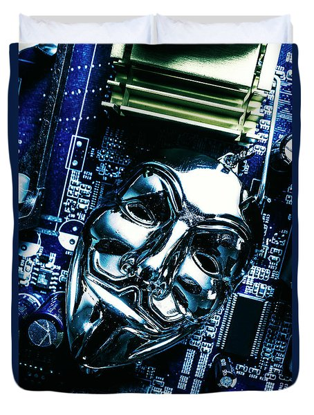 Metal Anonymous Mask On Motherboard Duvet Cover by Jorgo Photography - Wall Art Gallery