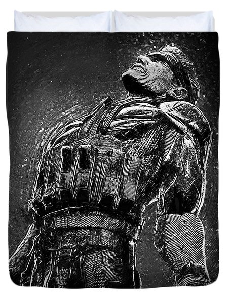 Duvet Cover featuring the digital art Metal Gear Solid by Taylan Apukovska