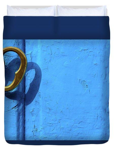 Duvet Cover featuring the photograph Metal Knob Blue Door by Prakash Ghai