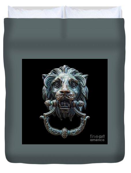 Duvet Cover featuring the photograph Metal Lion Head Doorknocker Isolated Black by Antony McAulay