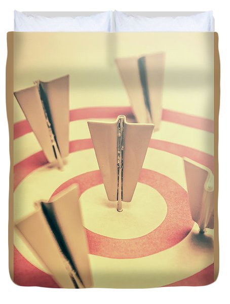 Metal Paper Planes In Target, Business Aims Duvet Cover