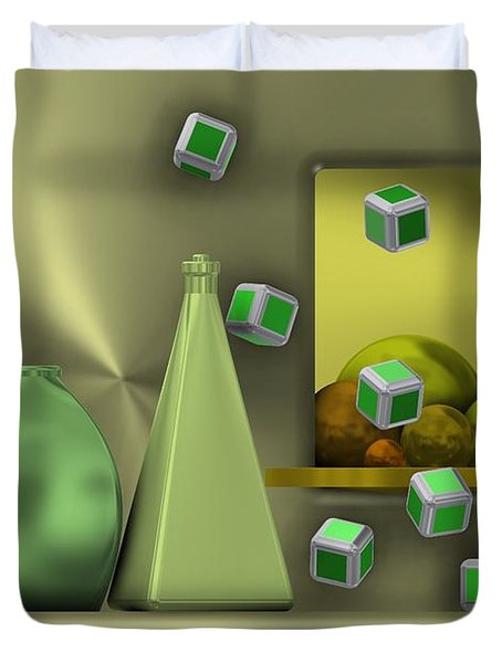 Metalic Still Life With Cubes Flying Duvet Cover