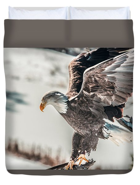 Metallic Bald Eagle  Duvet Cover