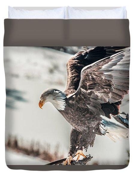 Metallic Bald Eagle  Duvet Cover