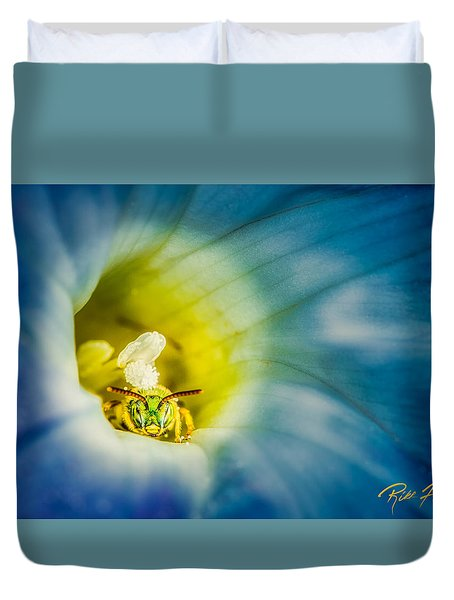 Metallic Green Bee In Blue Morning Glory Duvet Cover by Rikk Flohr