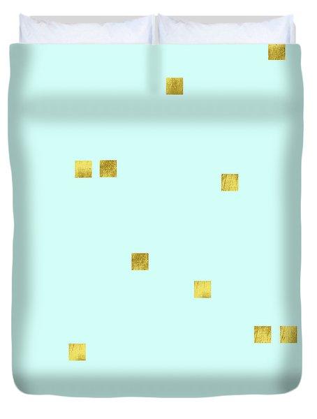 Metallic Square Confetti Print, Gold Squares On Aqua Duvet Cover