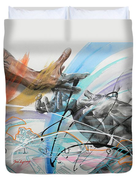 Duvet Cover featuring the painting Metamorphosis by J- J- Espinoza