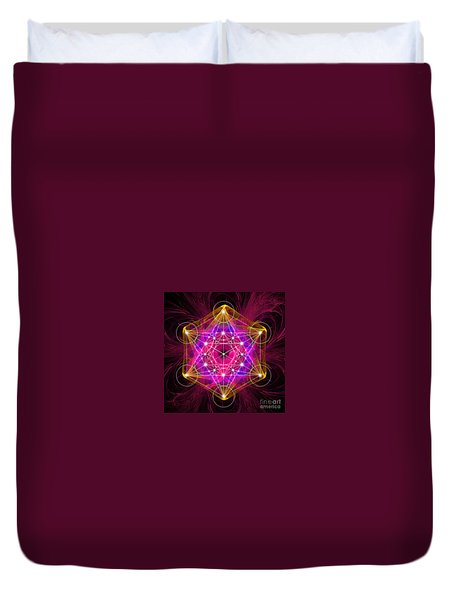 Metatron's Cube With Flower Of Life Duvet Cover