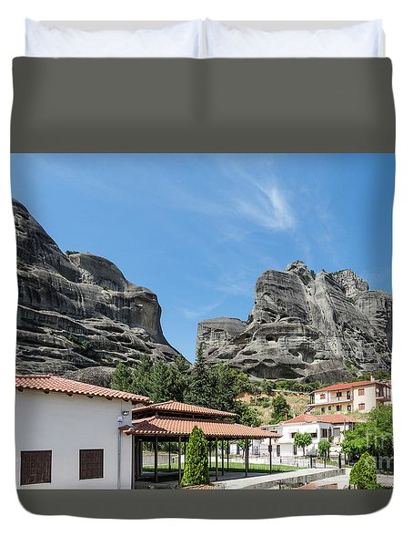 Meteora In Greece Duvet Cover