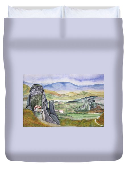 Duvet Cover featuring the painting Meteora by Teresa Beyer