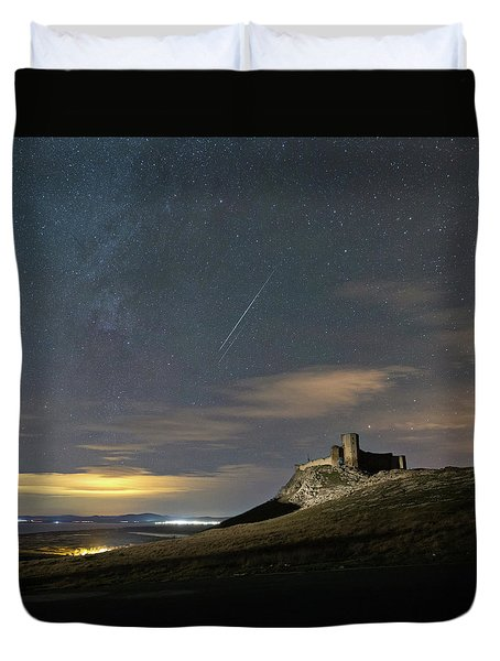 Meteors Above The Fortress Duvet Cover