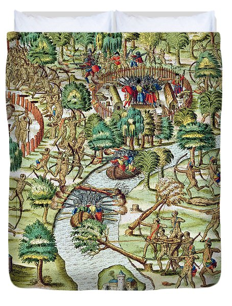 Methods Of Sieging And Attacking Duvet Cover by Theodore de Bry
