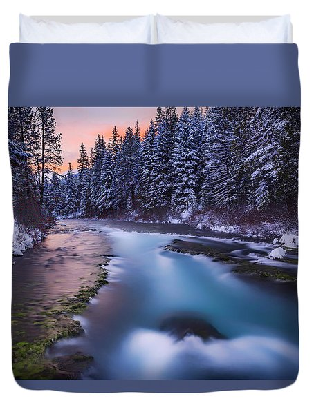 Duvet Cover featuring the photograph Metolius Sunset by Cat Connor