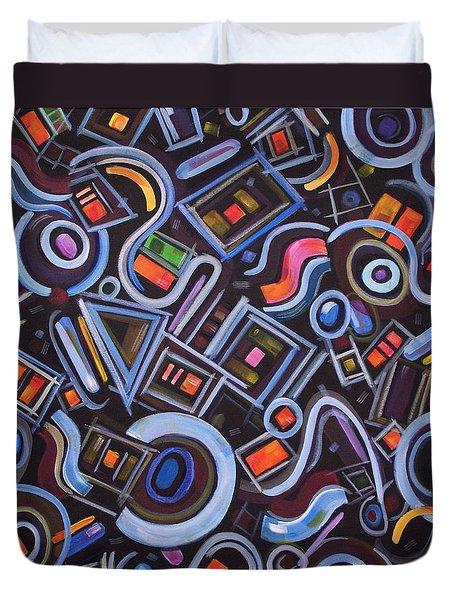 Duvet Cover featuring the painting Metrimorphic Lll by Lynda Lehmann