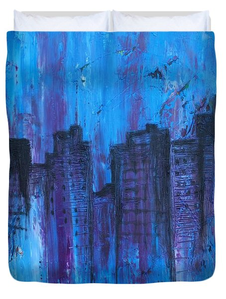 Metropolis In Blue Duvet Cover