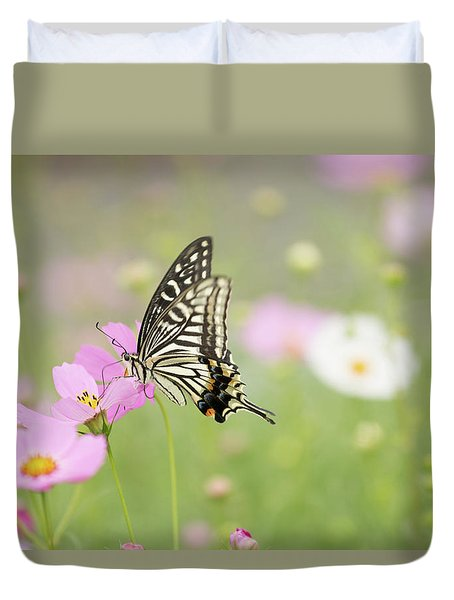 Mexican Aster With Butterfly Duvet Cover by Hyuntae Kim