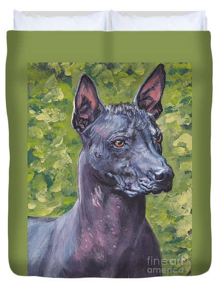 Duvet Cover featuring the painting Mexican Hairless Dog Standard Xolo by Lee Ann Shepard