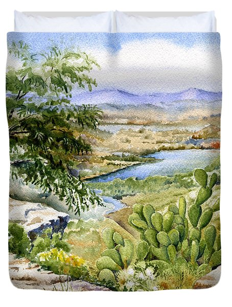Mexican Landscape Watercolor Duvet Cover