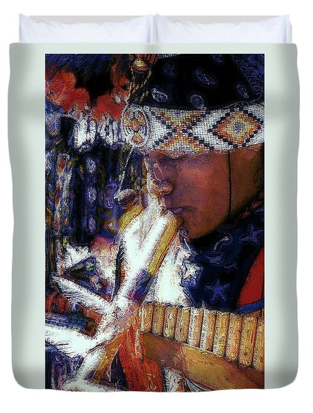 Duvet Cover featuring the photograph Mexican Street Musician by Lori Seaman