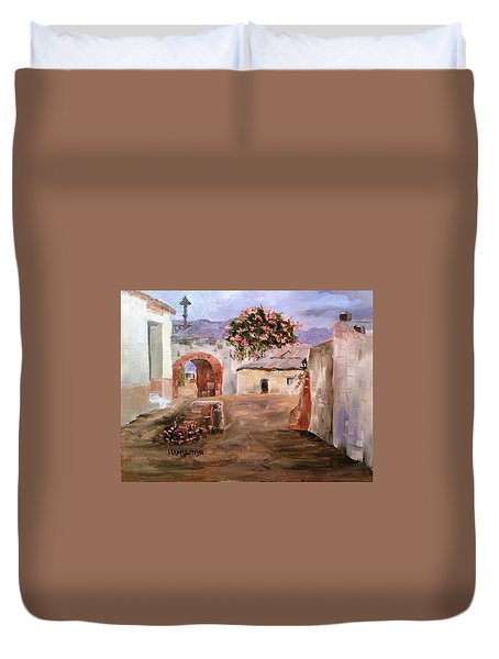 Mexican Street Scene Duvet Cover by Larry Hamilton