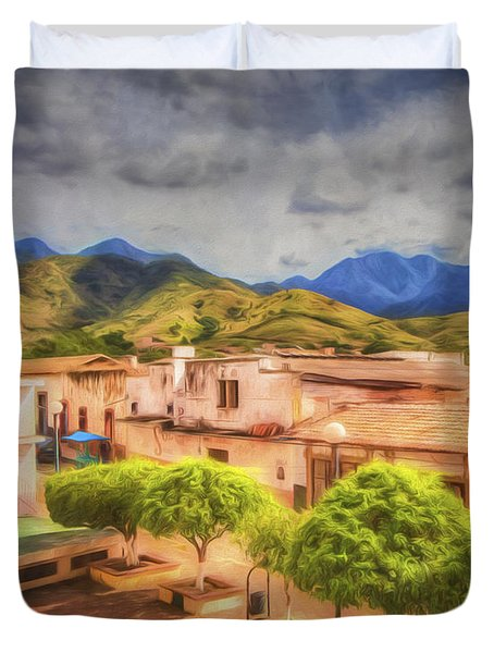 Mexican Town Plaza  ... Duvet Cover