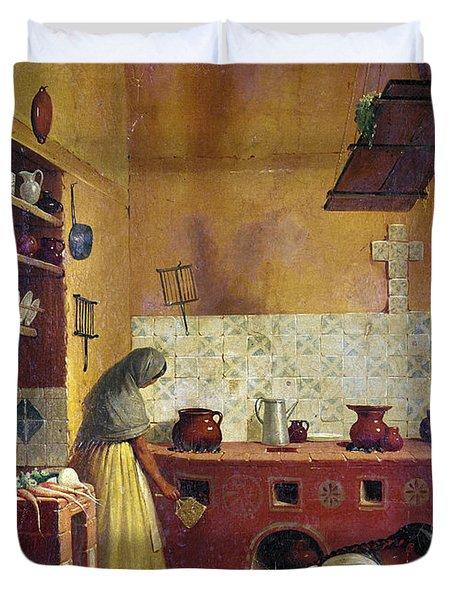 Mexico: Kitchen, C1850 Duvet Cover