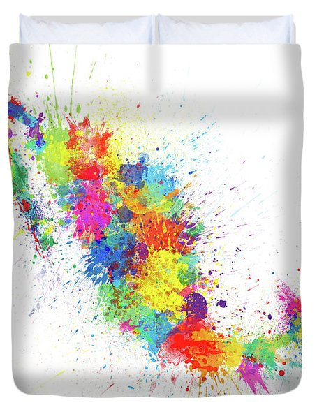 Mexico Paint Splashes Map Duvet Cover