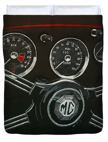 Duvet Cover featuring the painting Mga Dash by Richard Le Page