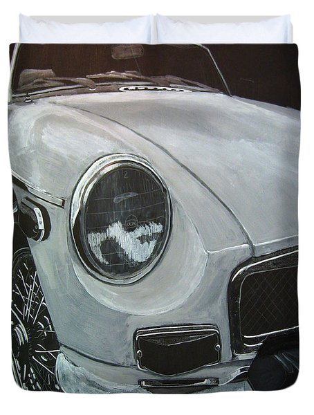 Duvet Cover featuring the painting MGB by Richard Le Page