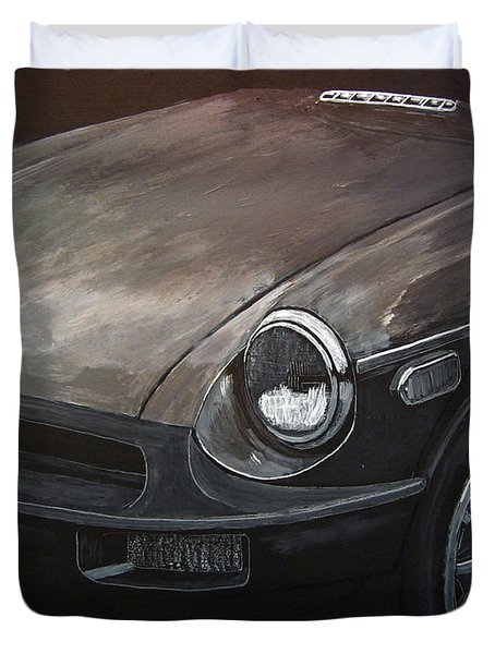 Duvet Cover featuring the painting Mgb Rubber Bumper Front by Richard Le Page