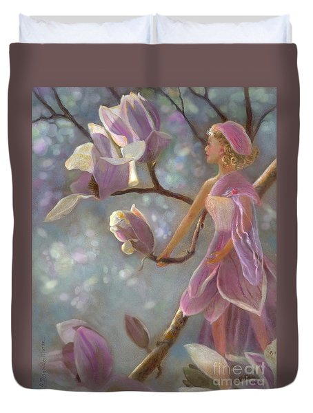 Duvet Cover featuring the painting Mia Magnolia Fairy by Nancy Lee Moran