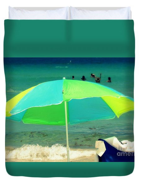 Duvet Cover featuring the photograph Miami Beach 3 by France Laliberte