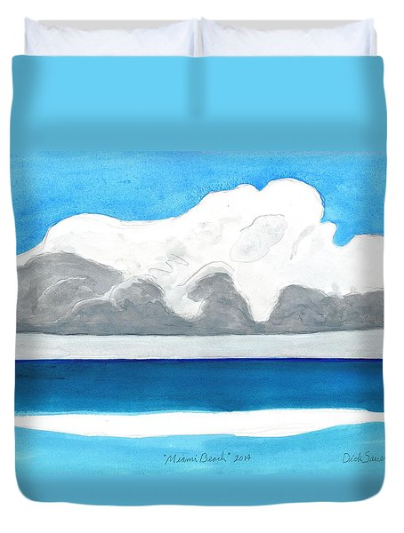 Duvet Cover featuring the painting Miami Beach, Florida by Dick Sauer