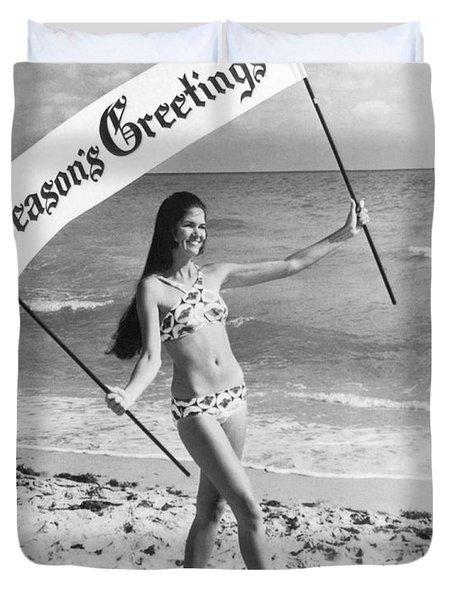 Miami Beach Season's Greetings Duvet Cover