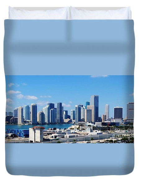 Miami City Scape Duvet Cover