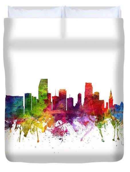 Miami Cityscape 06 Duvet Cover by Aged Pixel