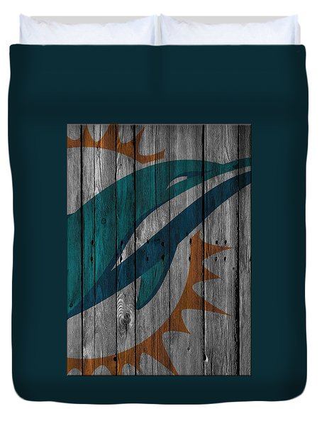 Miami Dolphins Wood Fence Duvet Cover by Joe Hamilton