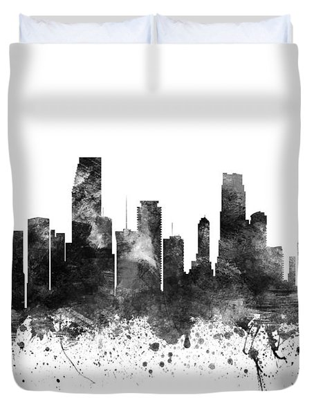 Miami Florida Cityscape 02bw Duvet Cover by Aged Pixel