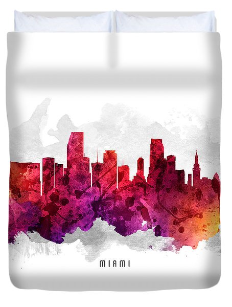 Miami Florida Cityscape 14 Duvet Cover by Aged Pixel