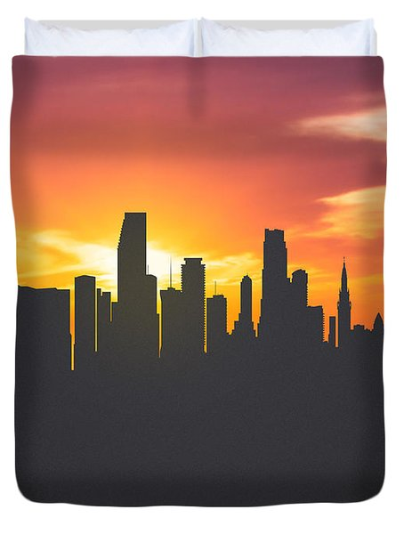 Miami Florida Sunset Skyline 01 Duvet Cover by Aged Pixel