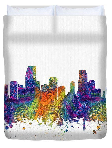 Miami Florida Skyline Color03 Duvet Cover by Aged Pixel