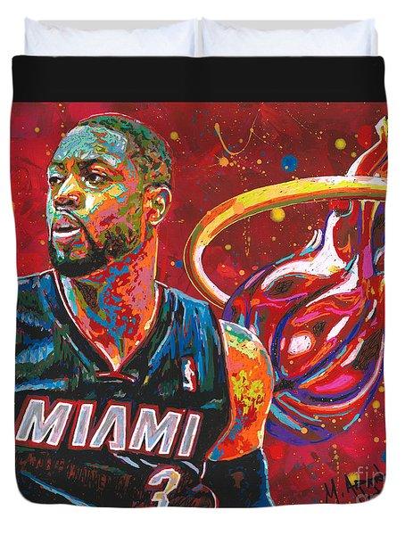 Miami Heat Legend Duvet Cover by Maria Arango