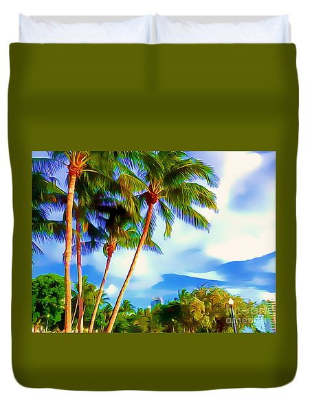 Duvet Cover featuring the photograph Miami Maurice Gibb Memorial Park by Patrice Torrillo