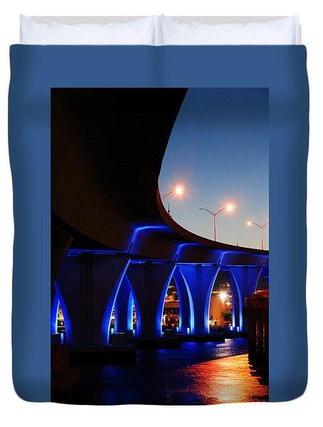 Duvet Cover featuring the photograph Miami Port Bridge by James Kirkikis