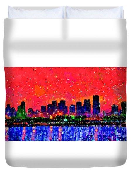 Miami Skyline 10 - Pa Duvet Cover