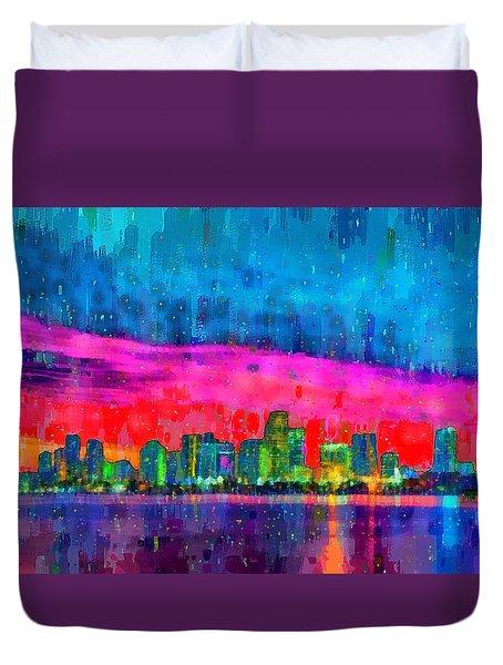 Miami Skyline 114 - Pa Duvet Cover