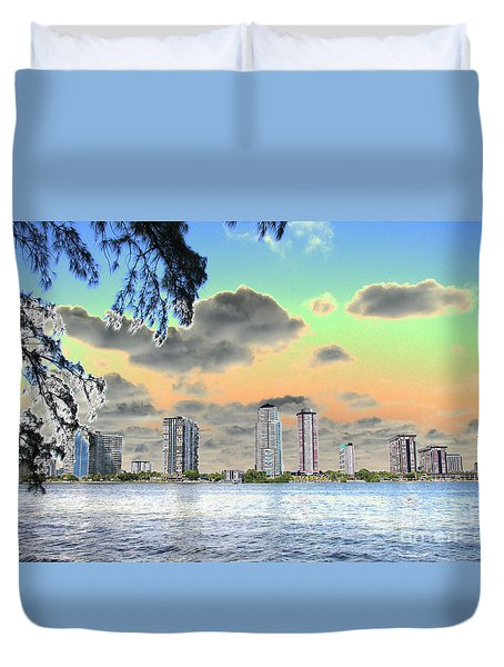 Miami Skyline Abstract Duvet Cover by Christiane Schulze Art And Photography